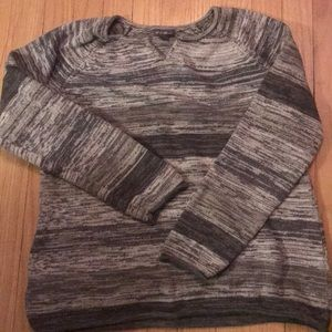Eddie Bauer gray and white stripped sweater